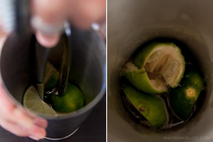 muddling limes for a caipirinha, lucky limes