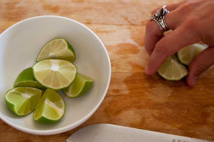 limes cut for a caipirinha