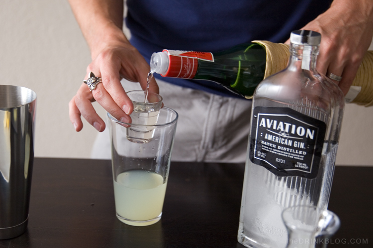adding the maraschino liqeur to the aviation
