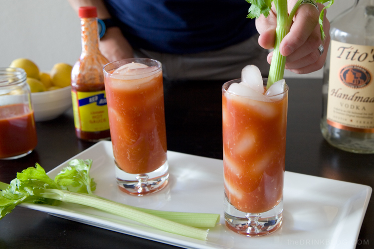 garnishing a bloody mary