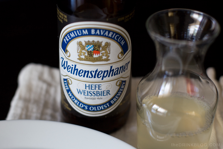 the hefeweizen from The Bavarian State Brewery Weihenstephan and lemonade for the radler
