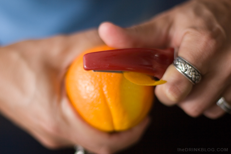 peel orange for garnish on the old fashioned