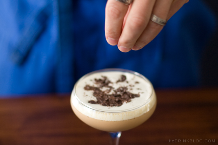 garnish the Black Forest Martini with chocolate shavings