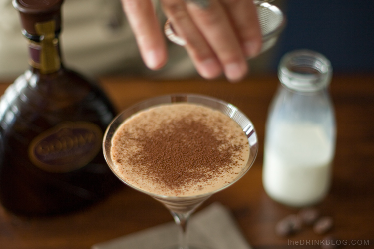 dust the chocolate martini with cocoa powder