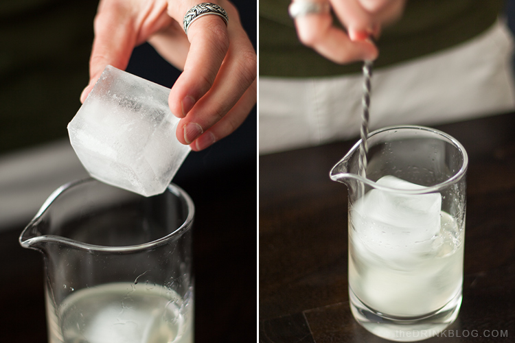 ice cubes and mixing glass