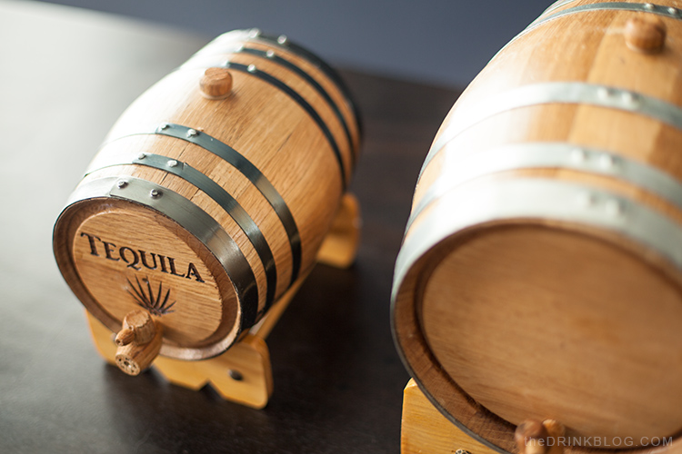 two and five liter barrels close-up