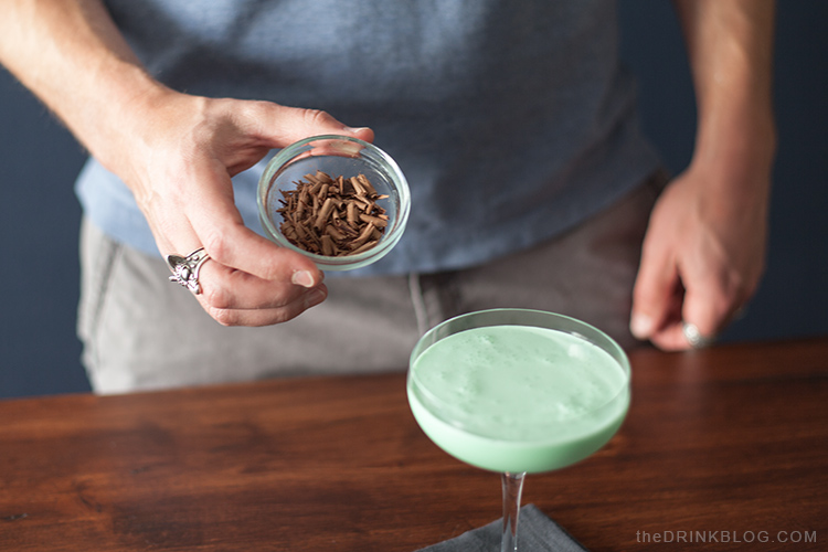 What's a Grashopper without chocolate shavings to garnish? Not awesome, that's what.