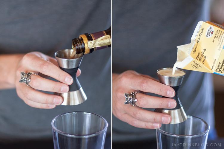 godiva and cream for the barrel aged s'more martini
