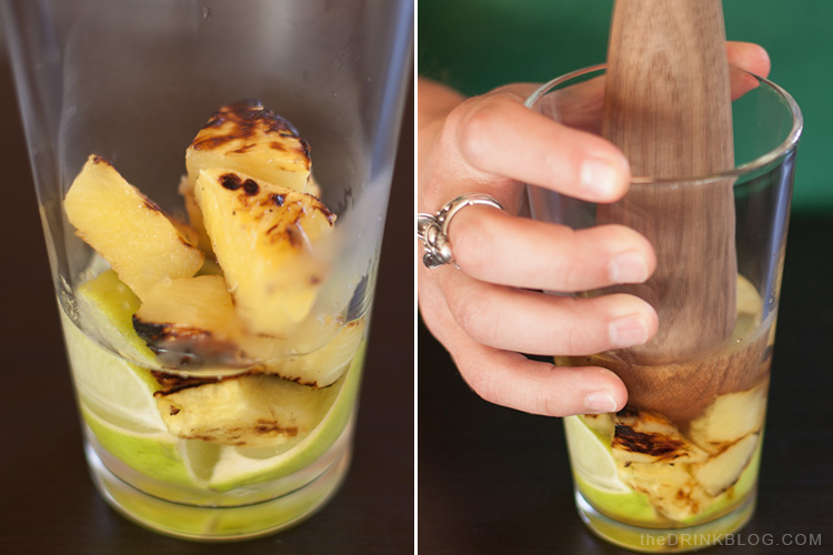 muddle pineapple and limes