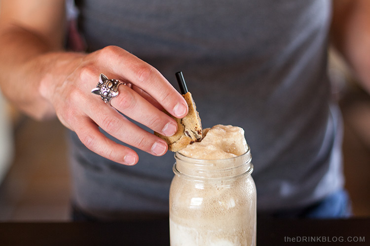 garnish jack and coke float with a chocolate chip cookie