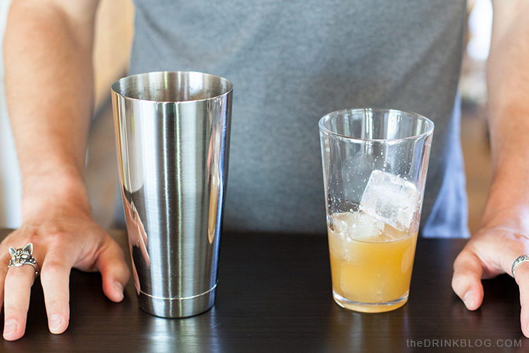 add ingredients to cocktail shaker