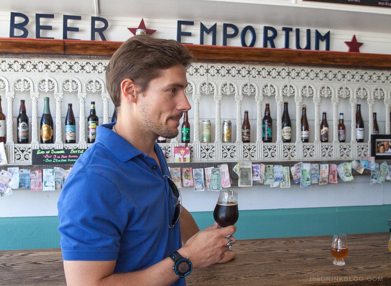 morgan enjoying the beers on tap