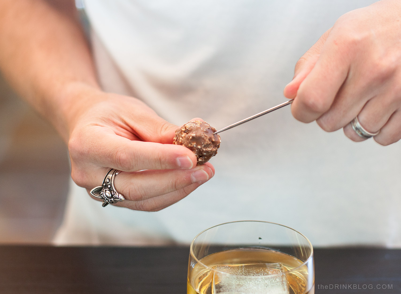 garnish with hazelnut chocolate