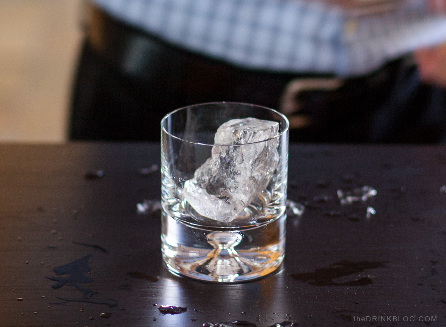 clear ice in glass