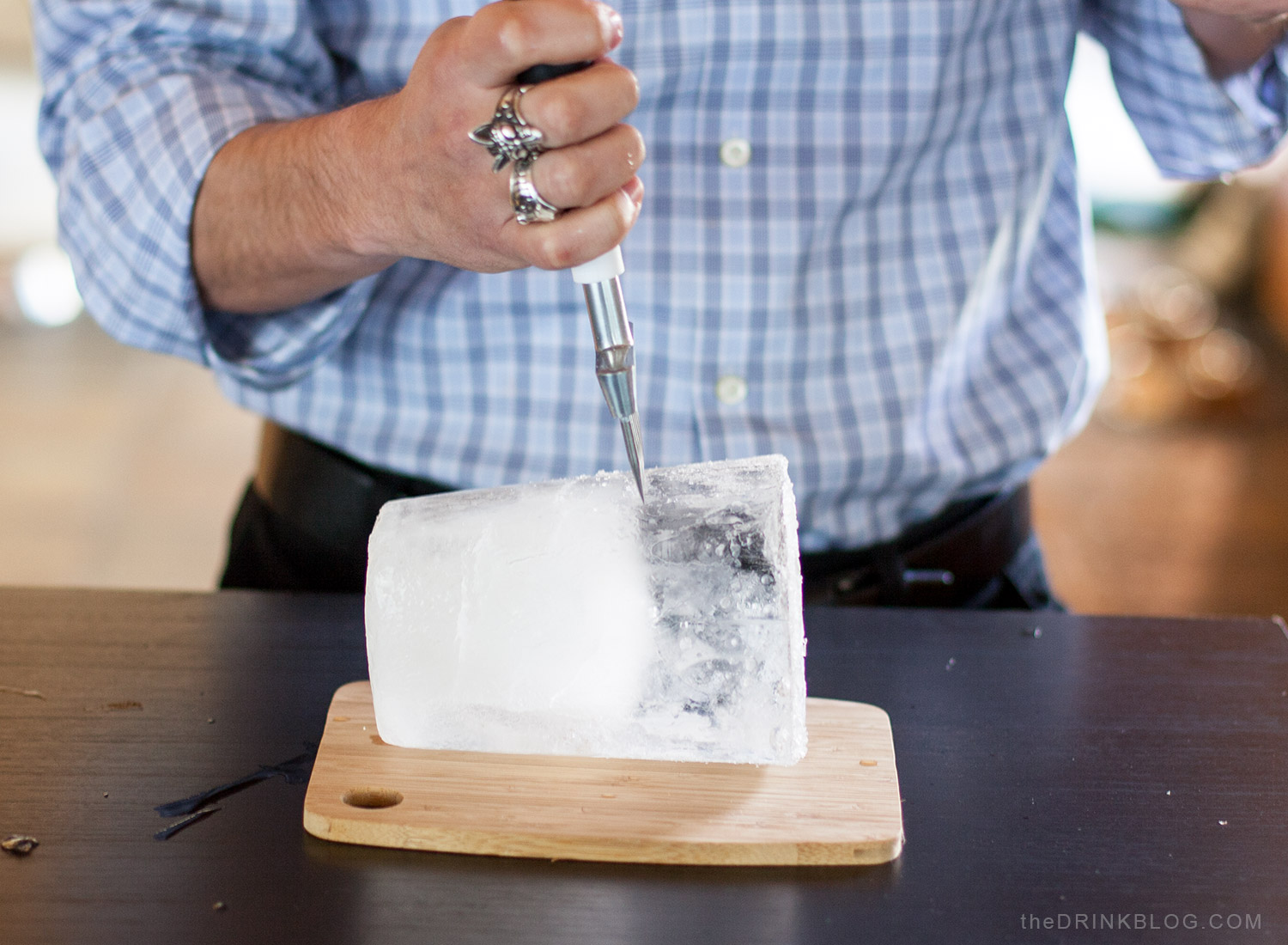 chop off clear ice chunk