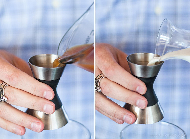 pour tea and milk