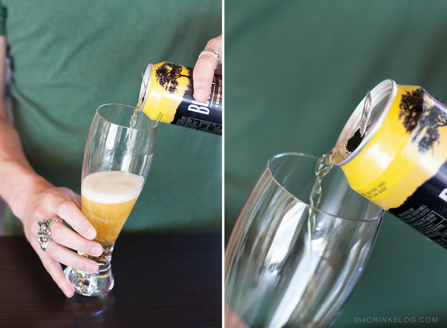 pour dry cider into glass