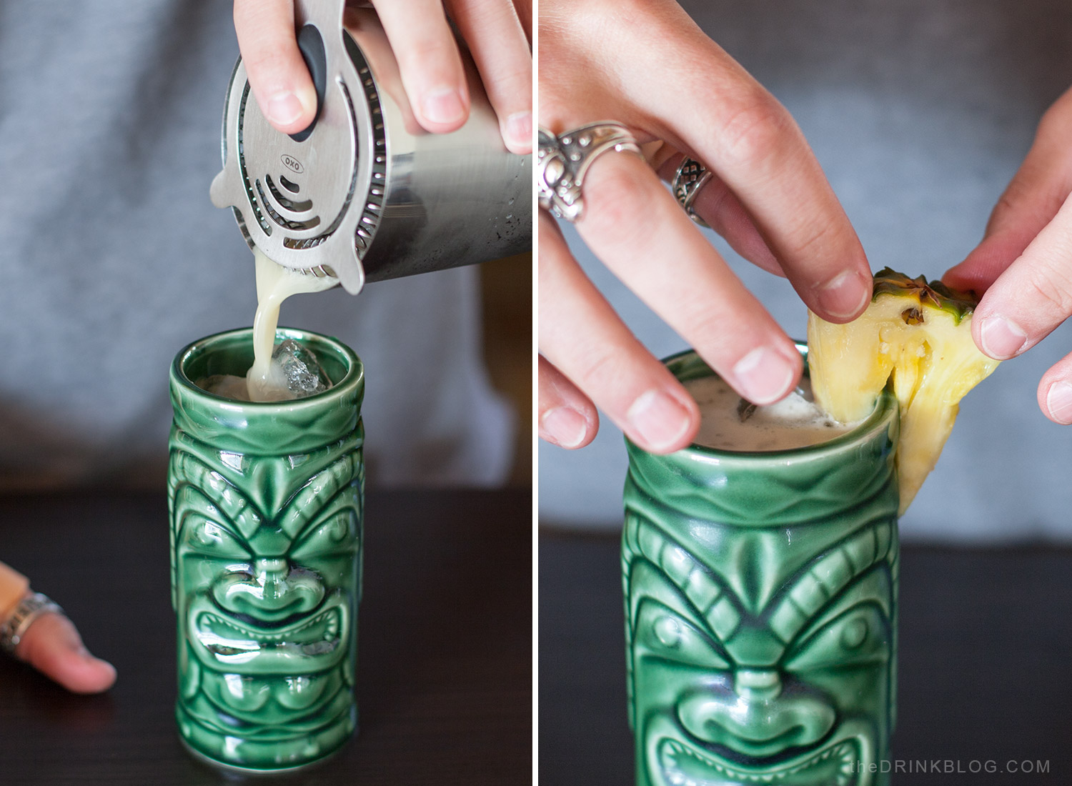 pour cocktail and garnish with pineapple